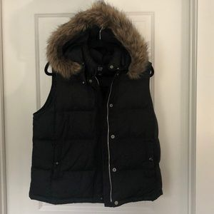Gap Fur Hooded Black Puffer Vest